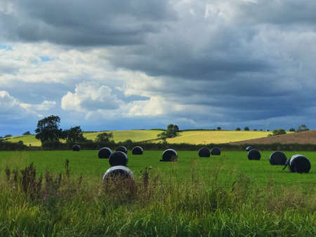 Bales in a field on a stormy day