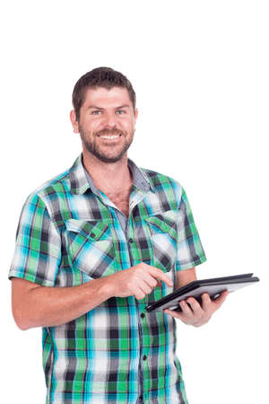 Deaf or hearing impaired man with tablet in chequered shirt Stock Photo - 26305579