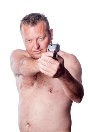 nipple piercing: caucasian male and gun Stock Photo