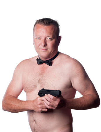 caucasian male with black bow tie pointing a gun photo
