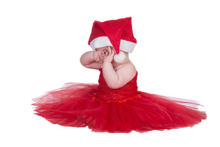 baby in red christmas outfit photo