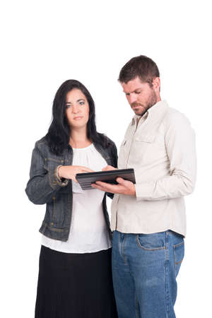 young deaf or hearing impaired couple or siblings using a tablet  Stock Photo - 26304746