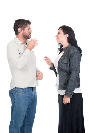young deaf or hearing impaired couple or siblings using signs language to communicate Stock Photo - 26304747