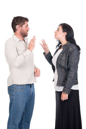young deaf or hearing impaired couple or siblings using signs language to communicate Stock Photo - 26304748