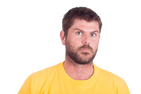 deaf or hearing impaired man in yellow shirt Stock Photo - 27813791