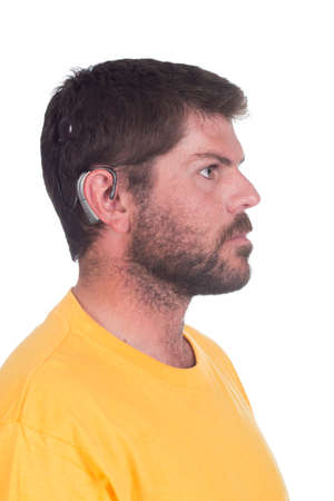 young man with cochlear implant facing side ways Stock Photo - 26329858