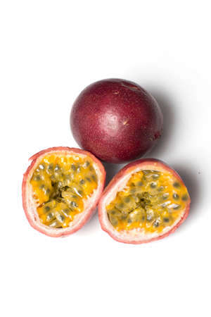 passion fruit or granadilla with pips and pulp photo
