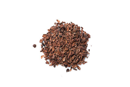 endorphine: Crushed chocolate shavings pile isolated on white background