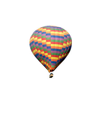 Multi colored hot air balloon on white background photo