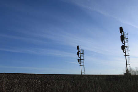 Signaal verlichting tegen blauwe hemel  Stockfoto