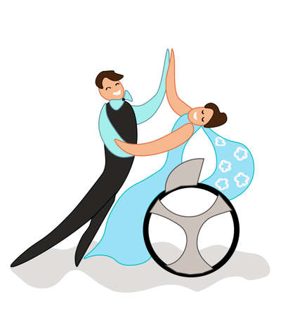 illustration for inclusion. Dance of a man and a woman in a wheelchair. dance the waltz. Isolated on white background. Illustration