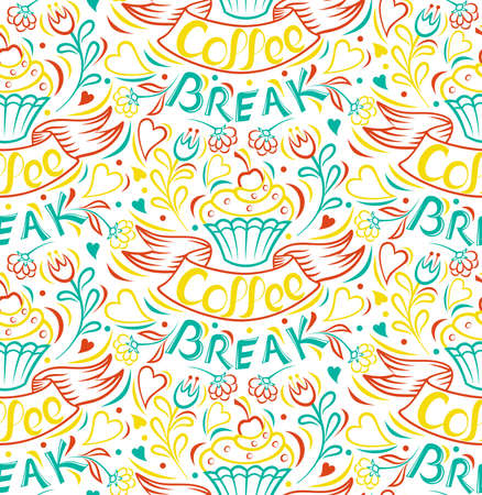 Coffee break. Cake draw by hand, clipped seamless background. Painted by hand ribbon letter. Vintage style poster. Isolated, vector illustration.