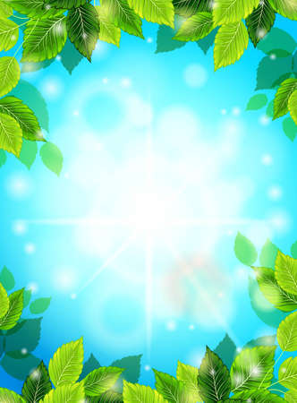 suns: Bright Spring realistic background, blue sky, green leaves. The suns rays, glare, glow. Template for web design. Vector illustration