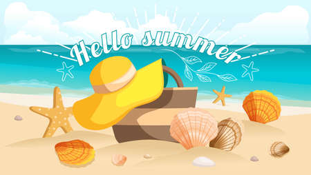 beach bag: Great postcard, beautiful landscape, sea beach, beach bag, beach hat, pebbles. Sunburst text Hello summer. Vector illustration