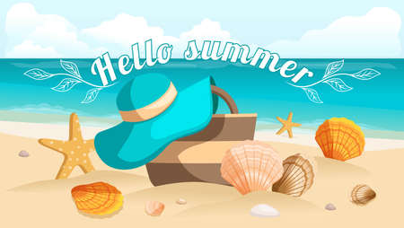 beach bag: Great postcard, beautiful landscape, sea beach, beach bag, beach hat, seashells, pebbles. Sunburst text Hello summer. Vector illustration Illustration
