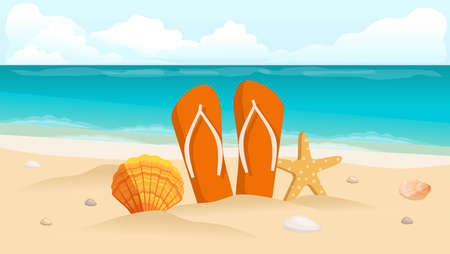 footwear: Vector illustration of a travel postcard, flyer, beach, sea, shells and composition of footwear.