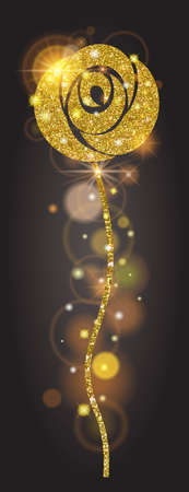 solar flare: Vertical banner golden bright rose with sparkles. Large solar flare, glow, holiday, ornaments for design. Vector illustration Illustration