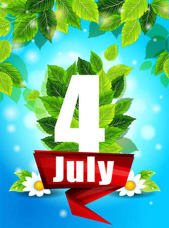 Quality background with green leaves. Bright poster July 4th with flowers and the words, pattern, design for printing Illustration