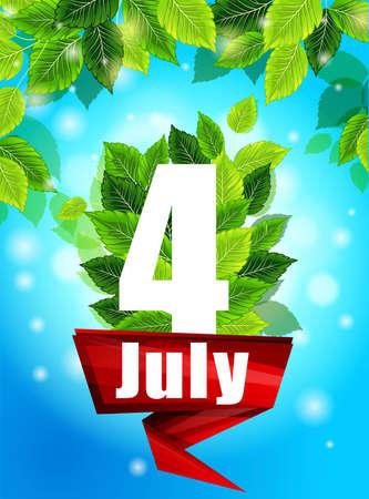現実的なコンセプト。緑の葉と品質の背景。6 月 12 日夏の花と言葉、パターン、印刷用デザイン ポスター