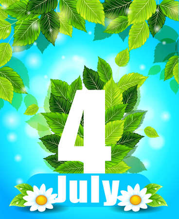 Quality background with green leaves. Summer July 4th poster with flowers and the words, pattern, design for printing Stock Vector - 61278391