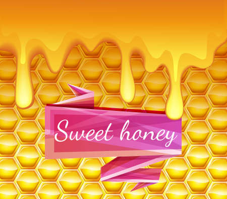 beeswax: Realistic background with honeycombs and honey dripping. High-quality graphics. Bright pink ribbon