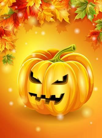 frightful: Halloween orange background autumn leaves, pumpkin character. Vector illustration