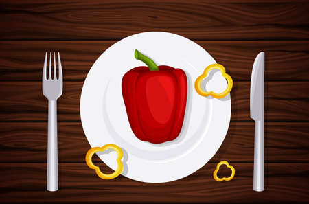 table top: Excellent quality wood texture, table, table top, peppers on a plate, slices of pepper. Design vegetarian menu. Background of dark wooden planks. Vector illustration