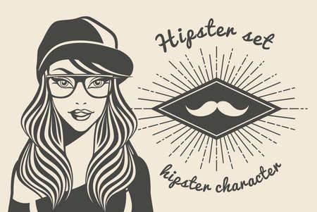 glamorous: Vintage background beautiful woman in a cap hipster, hipster style Sunburst with text. Vector illustration. Illustration