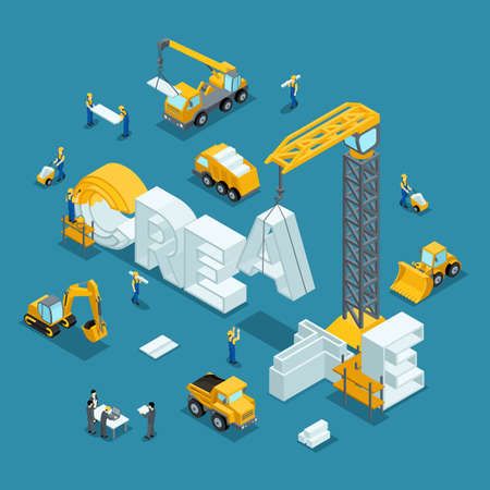 Isometric 3d Building business idea, creative, create. Working people in the construction work. Development plan of the invention. Construction Isometric People Isometric vector illustration  イラスト・ベクター素材