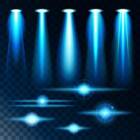 projections: Set realistic light shine bright glare of lamps, a set of various shapes and projections on a dark background. Abstract vector illustration Illustration