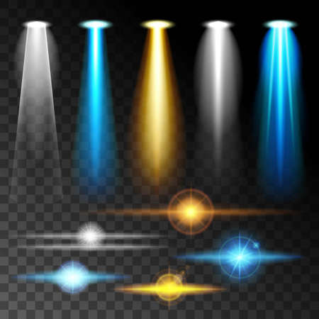 projections: Set realistic light shine bright blue glare of lamps, a set of various shapes and projections on a dark background. Abstract vector illustration. Illustration