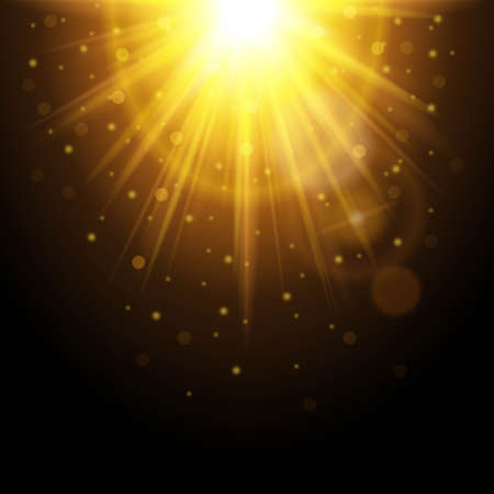 Magic background with rays of light, glowing light effect. Yellow sunshine with sparkles on a dark background. Vector illustration. Ilustrace