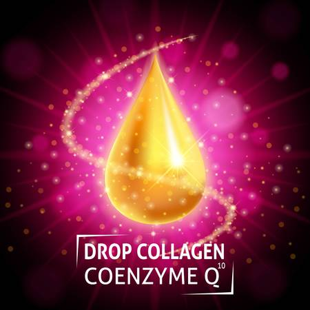 anti age: Serum Collagen Coenzyme Q10, realistic golden drop on a crimson background. Taking care of the skin. Anti age hyaluronic serum. Design cosmetics. Vector illustration. Illustration