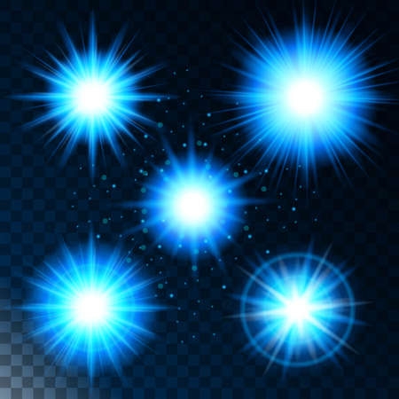 Set of glowing light effect star, the sunlight shines blue with sparkles on a transparent background. Vector illustration.