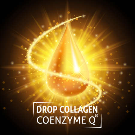 anti age: Serum Collagen Coenzyme Q10, realistic golden drop. Taking care of the skin. Anti age hyaluronic serum. Design cosmetics. Vector illustration.