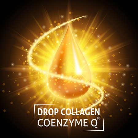 Siero Collagene Coenzima Q10, realistico goccia d'oro. Prendersi cura della pelle. Anti età siero ialuronico. cosmetici design. Illustrazione vettoriale. Vettoriali