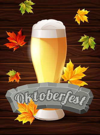 stone tablet: Bright poster Oktoberfest, beer, holiday. Autumn maple leaves on the wooden background. The inscription on the stone tablet. Vector illustration. Illustration
