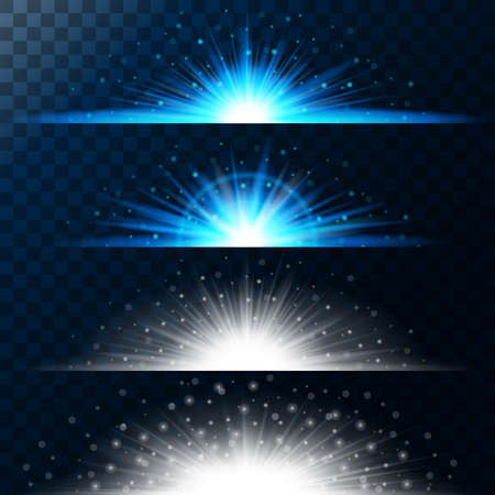 Set realistic lighting effects. Glowing star. Light and glitter on a transparent background. Shining blue border magical balls. Abstract vector illustration.