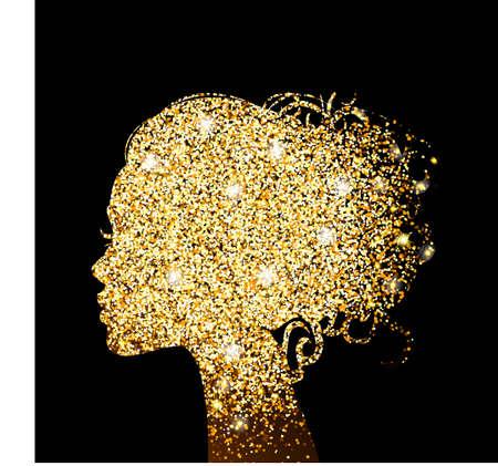 silueta de la muchacha hermosa lámina de oro textura de oro. Hermosa ilustración de la belleza. Vector.
