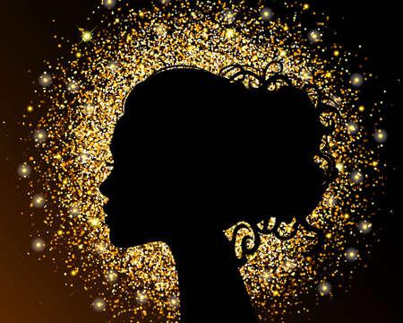 De zwarte silhouet van een meisje op een gouden achtergrond, zand, kruimelige textuur folie. De lichte ontwerp van een schoonheidssalon. Vector illustratie. Stock Illustratie