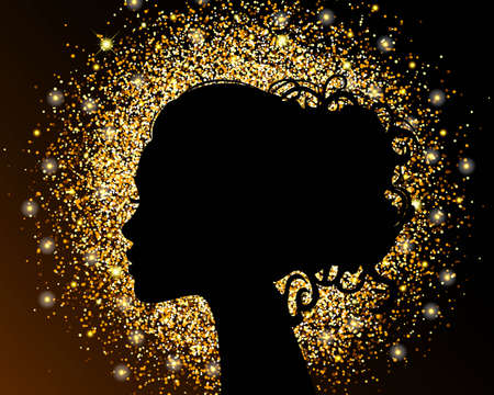 Die schwarze Silhouette eines Mädchens auf einem goldenen Hintergrund, Sand, krümelige Struktur Folie. Das helle Design eines Schönheitssalons. Vektor-Illustration.