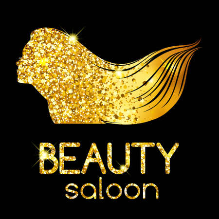 Décor d'or d'un salon de beauté, la jeune fille contour silhouette agitant ses cheveux, illustration lumineux. Vector illustration Banque d'images - 64387245