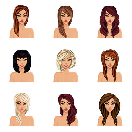 Set of hairstyles for girls create their Avatar, a young woman naked. Hairstyles for long hair isolated. Face neck, eyes, lips. vector illustration. Illustration