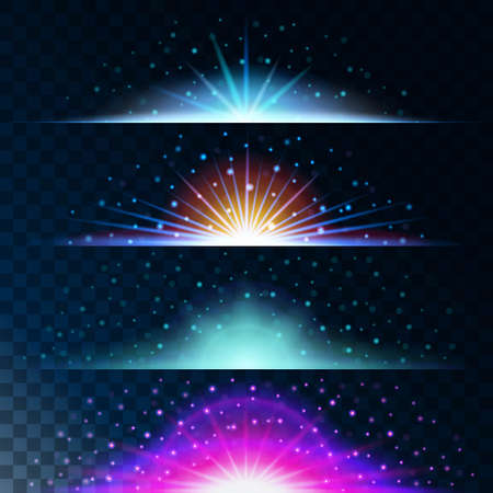effects of lighting: Set realistic lighting effects. Glowing star. Light and glitter on a transparent background. Shining blue border magical balls. Abstract vector illustration.