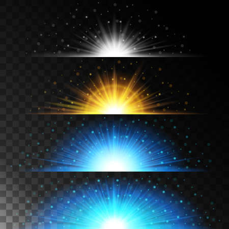 effects of lighting: Set realistic lighting effects. Glowing star. Light and glitter on a transparent background. Shining magical border of yellow balls. Vector illustration. Illustration