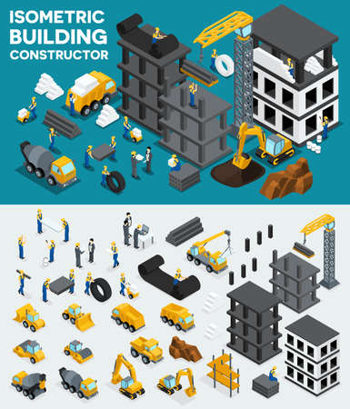 manage transportation: Design building isometric view, create your own design, building construction, excavation, heavy equipment, trucks, construction workers, people, uniform blocks, piles. Vector illustration. Illustration