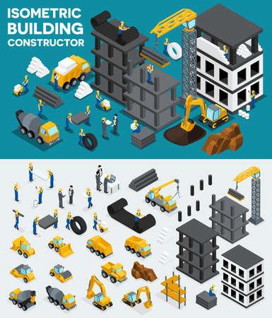 excavation: Design building isometric view, create your own design, building construction, excavation, heavy equipment, trucks, construction workers, people, uniform blocks, piles. Vector illustration. Illustration