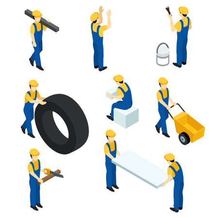 Set of vector isometric workers, construction workers, builders in the form. People isometric for web design. Vector illustration. Illustration