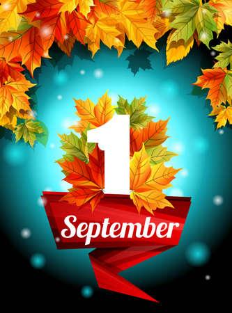 Quality design September 1, web design, decoration, holiday, template set. Autumn leaves adorn the poster. Vector illustration