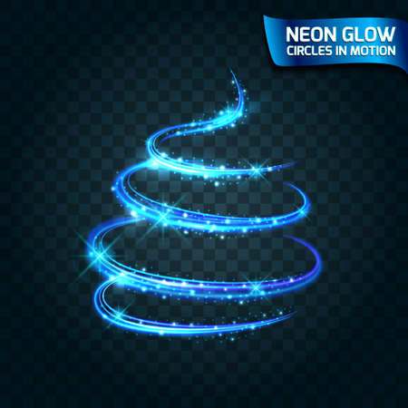 shutter speed: Neon Glow circles in motion blurred edges, bright glow glare glow magic tree, Christmas. Abstract glowing rings slow shutter speed of the effect. Abstract lights in a circular motion. Vector illustration.